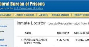 Warren Braithwaite Federal Prison Record