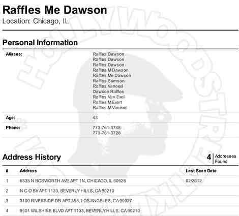 Raffles van Exel Criminal Search Records