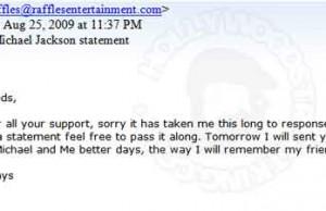 Raffles - Michael Jackson Bogus Emails